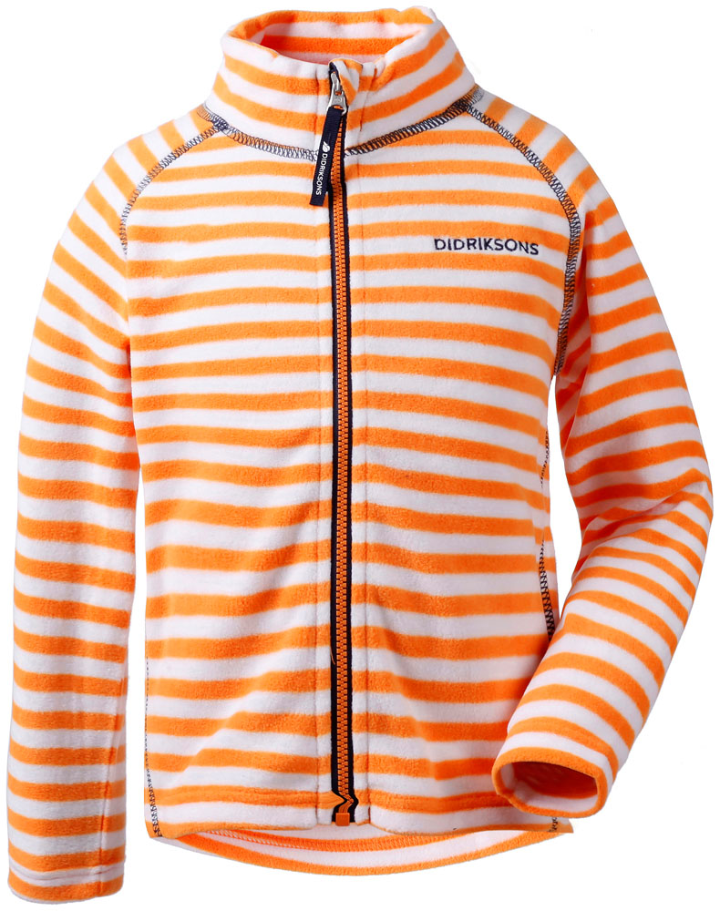 didriksons monte printed fleecejakke barn - bright orange/simple stripe